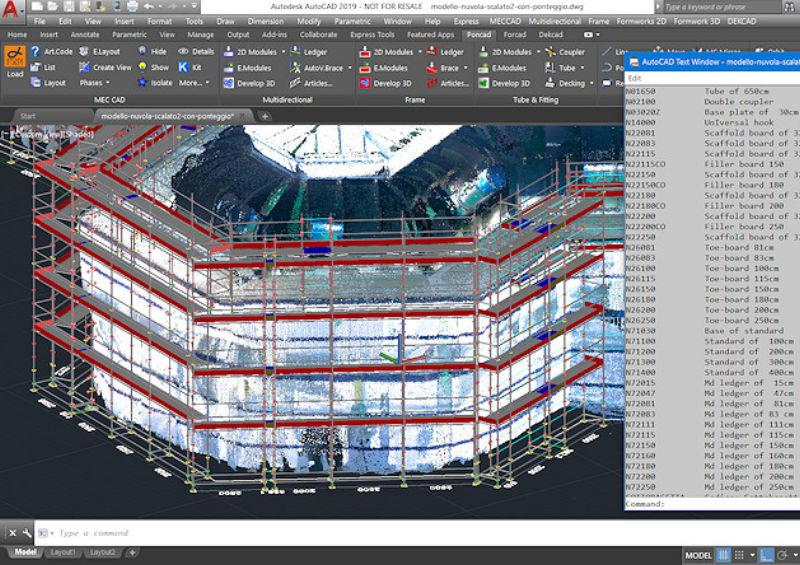 disegno ponteggio da nuvola punti leica PON CAD software